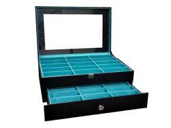 gaveteiro para 30 oculos preto e azul